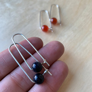 Sterling Silver Hooked Arc with Stone Earrings by Jovy Rockey