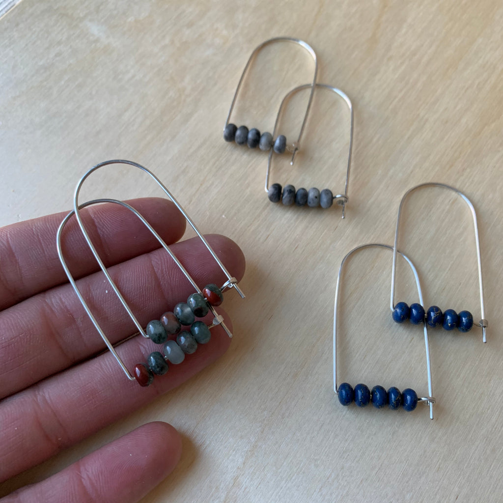 Sterling Silver Long Arch Earrings with Stones by Jovy Rockey