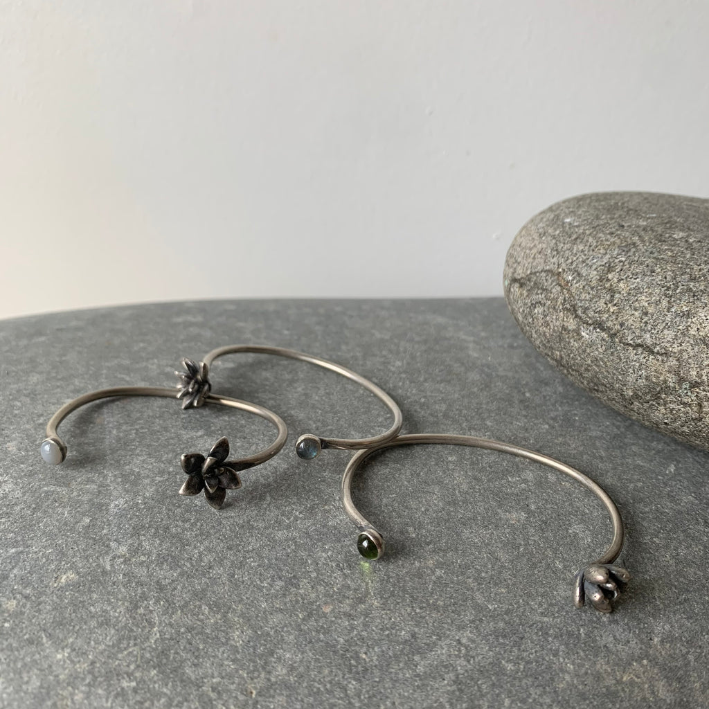 Sterling Succulent and Stone Cuff Bracelet by Tree Trunk Arts