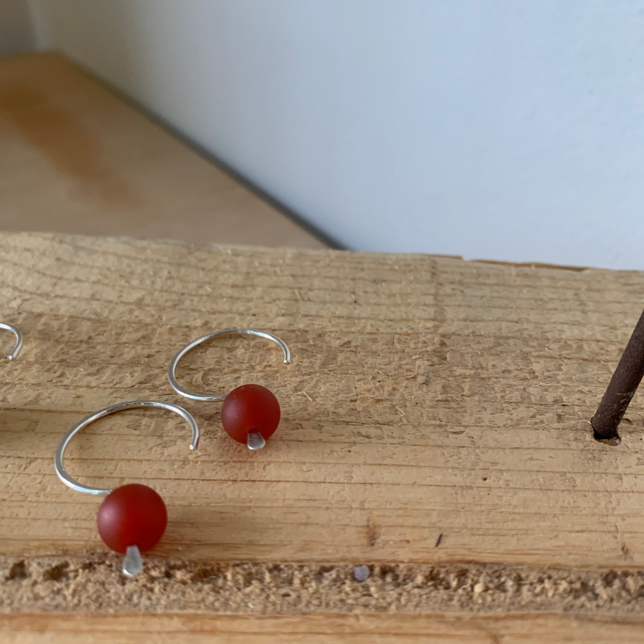 Sterling Silver Pull Through Hook Earrings with Single Bead by Jovy Rockey - Upstate MN