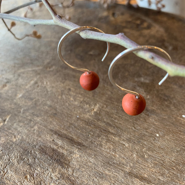 Sterling Silver and Red Matte Jasper Pull Through Hoops by Jovy Rockey