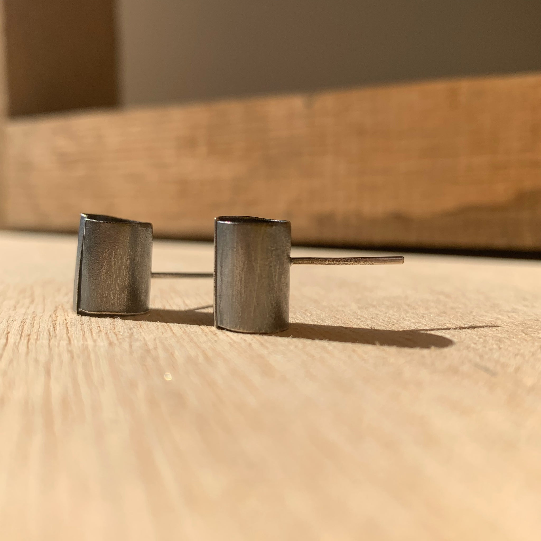 Sterling Tube Stud Earrings by Eric Silva
