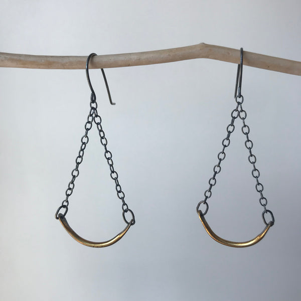Sterling and Brass Swing earrings by Eric Silva
