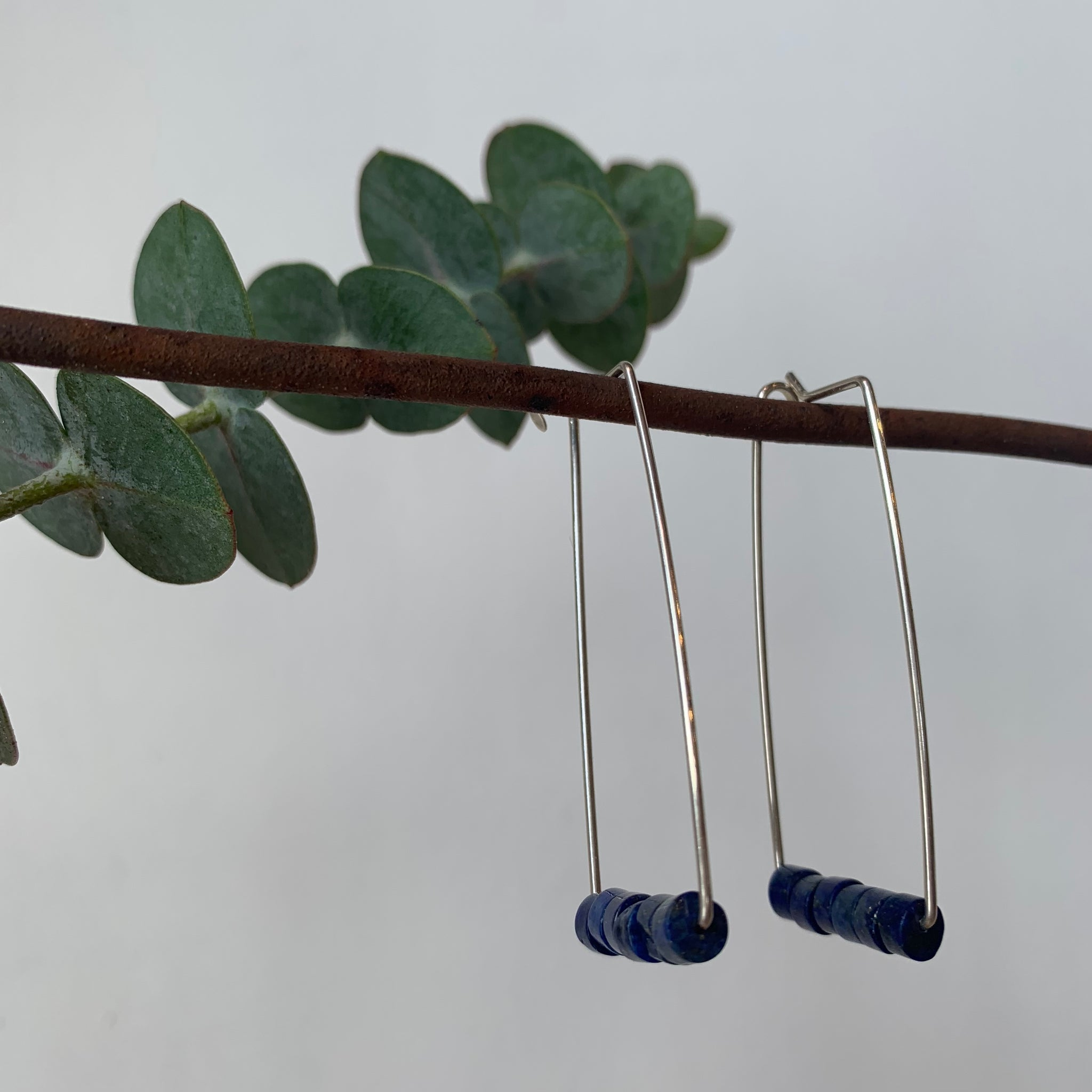 Sterling and Lapiz Earrings by Jovy Rockey