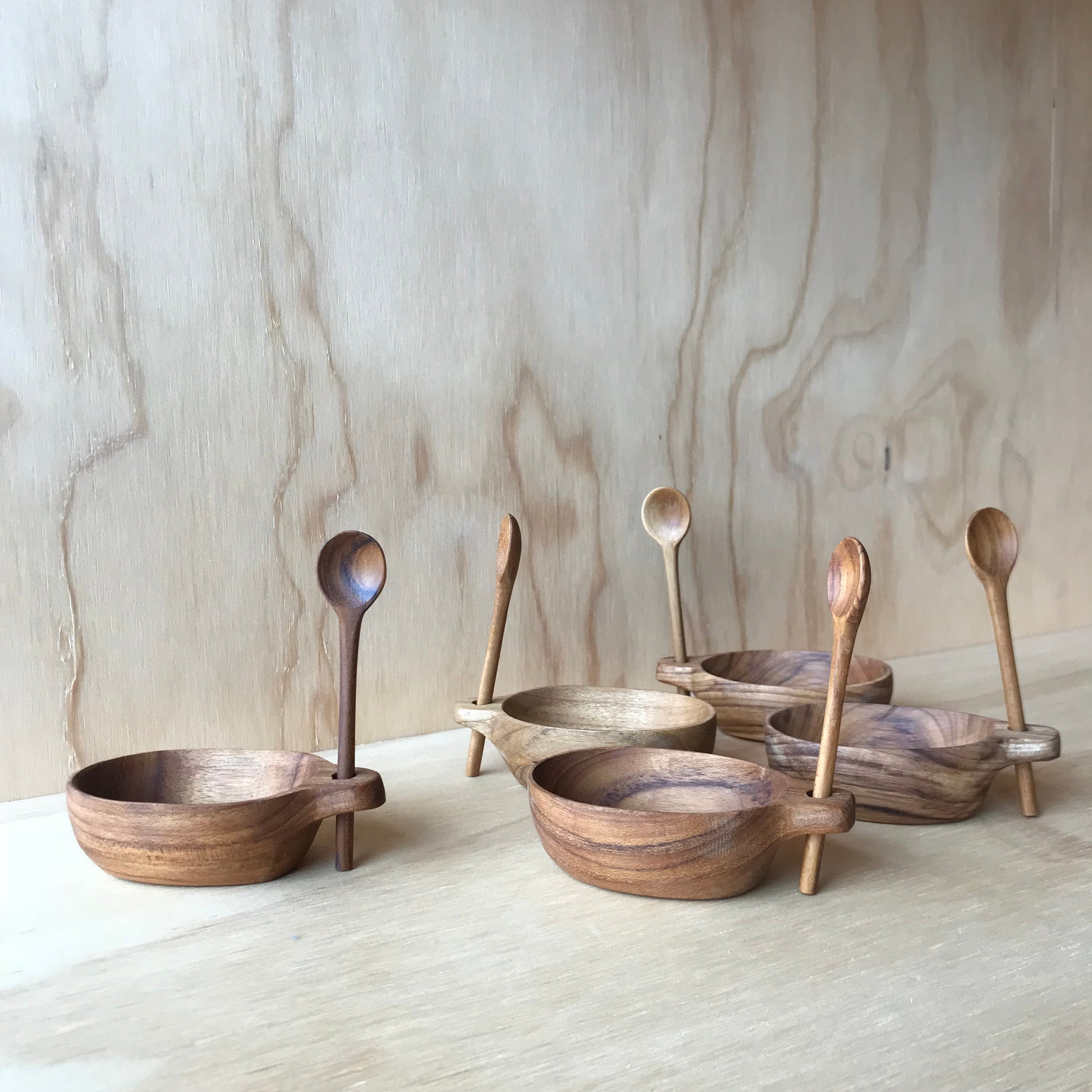 Teak Salt Cellar with Vertical Spoon