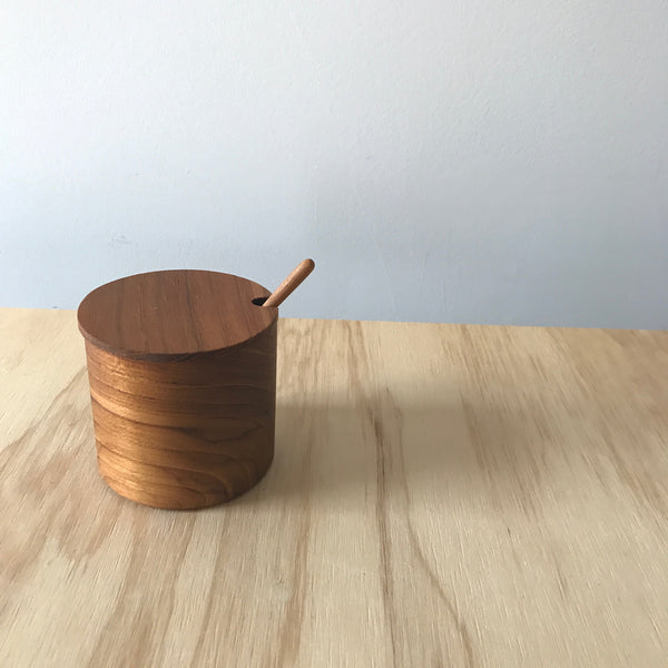 Teak Salt Cellar with Lid and Spoon – Large
