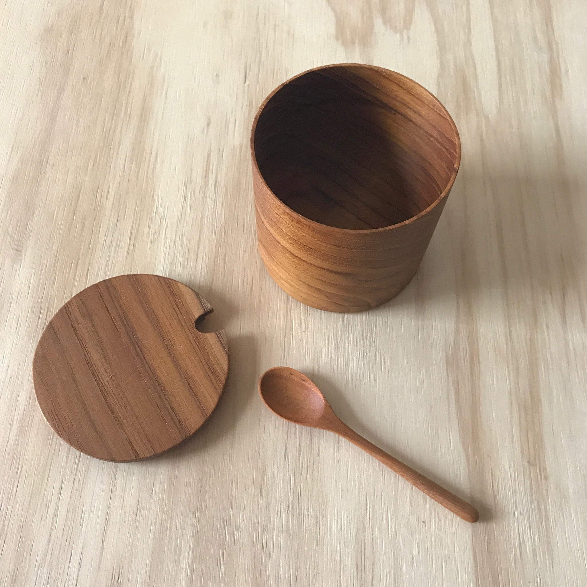Teak Salt Cellar with Lid and Spoon – Large - Upstate MN