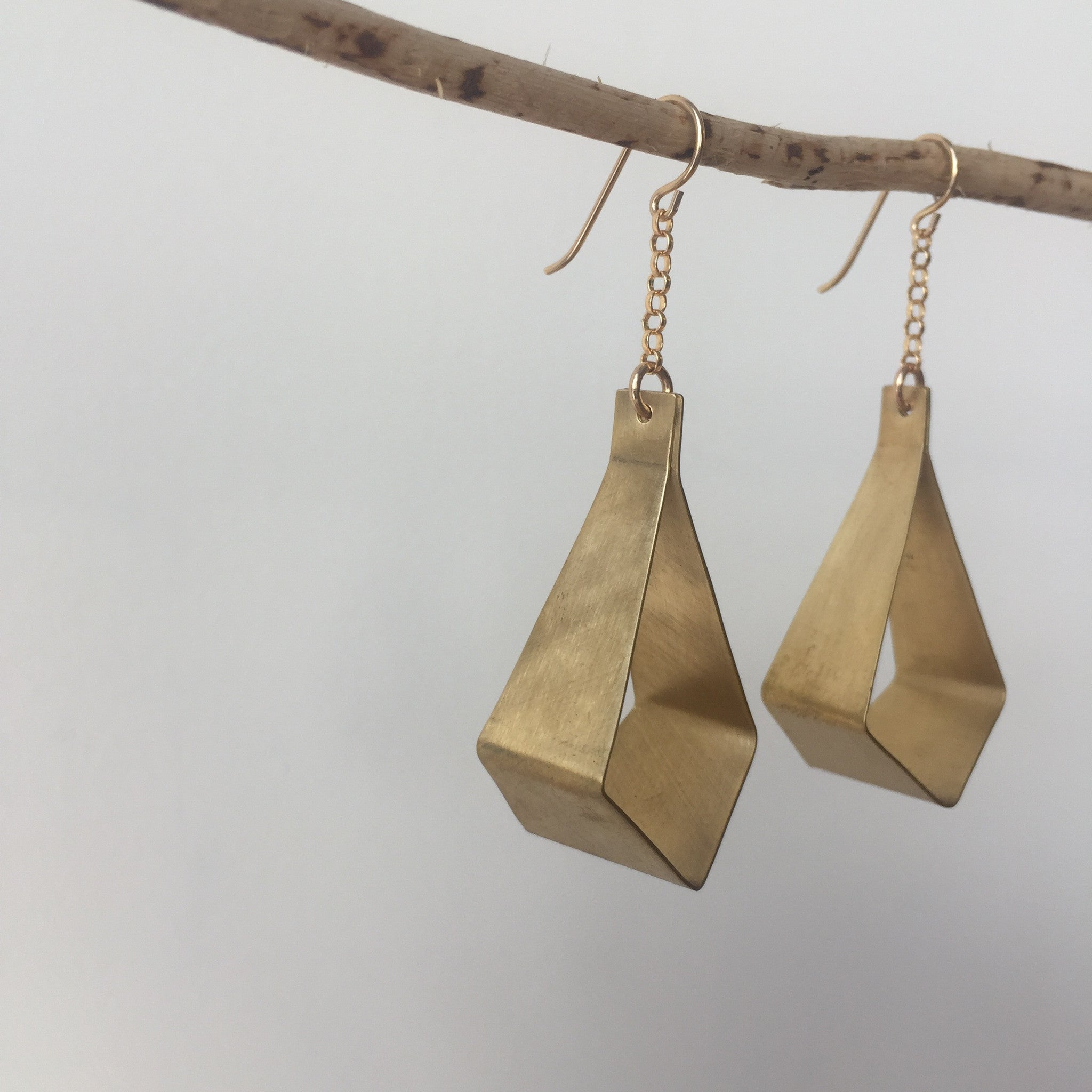 Long Brass Bent Earrings by Silvercocoon