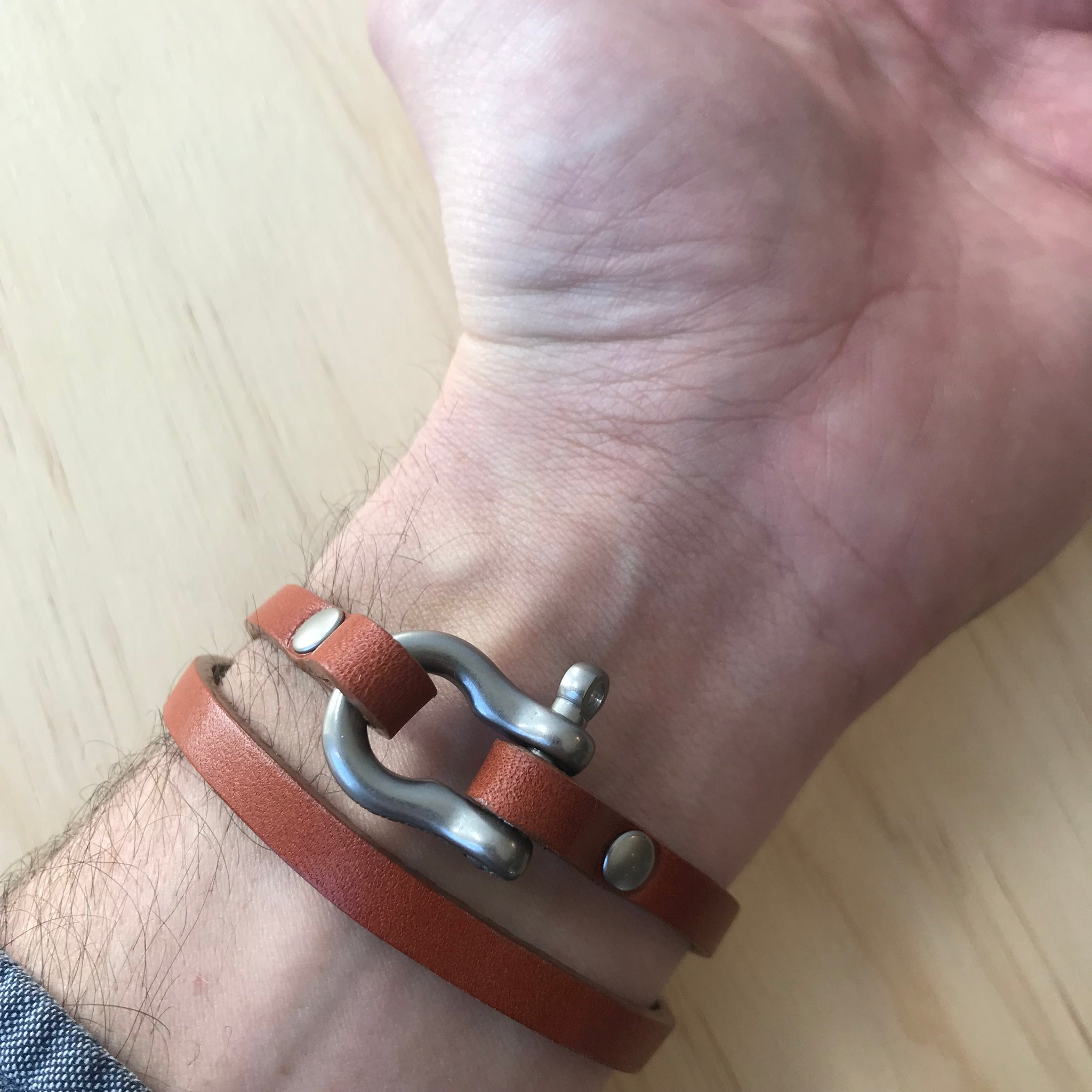 Double Wrap Leather Shackle Bracelet by Todder - Upstate MN
