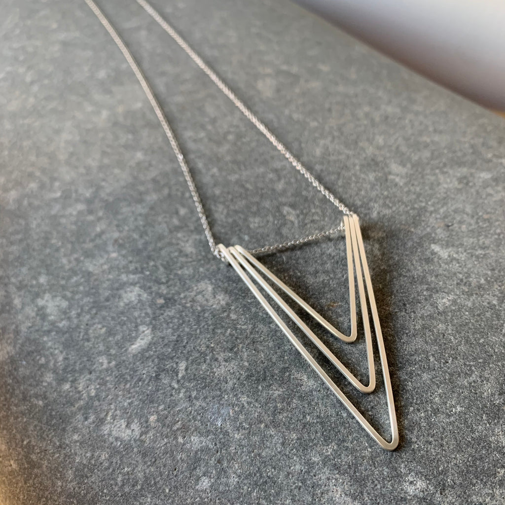 Triple V Sterling Silver Necklace by Jovy Rockey