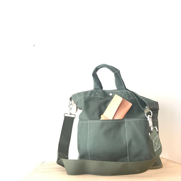 Olive Canvas Bucket Tote Bag by Utility Canvas