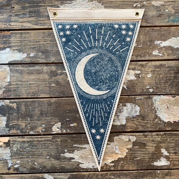 Waning Moon Felt Flag by The Rise and Fall