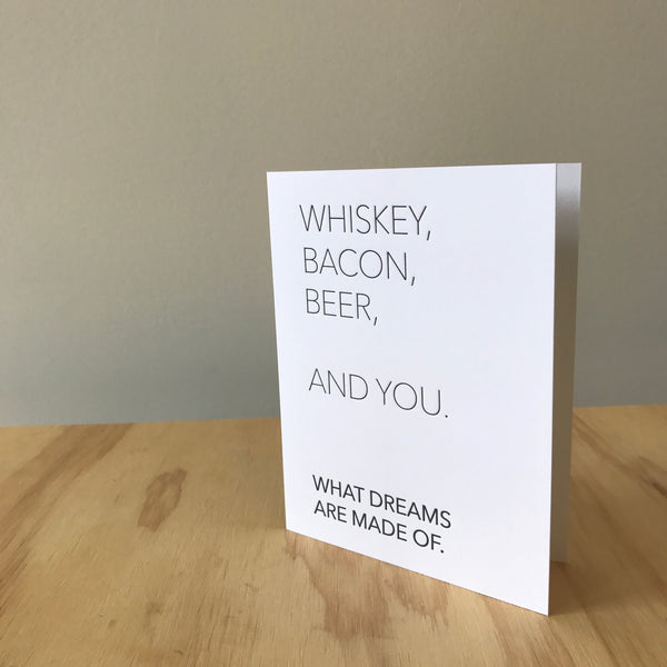 Whiskey and You Letterpress Greeting Card by Matt Butler