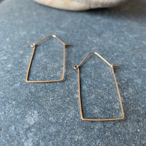 Wire Work Brass Box Hoop Earrings by Eric Silva