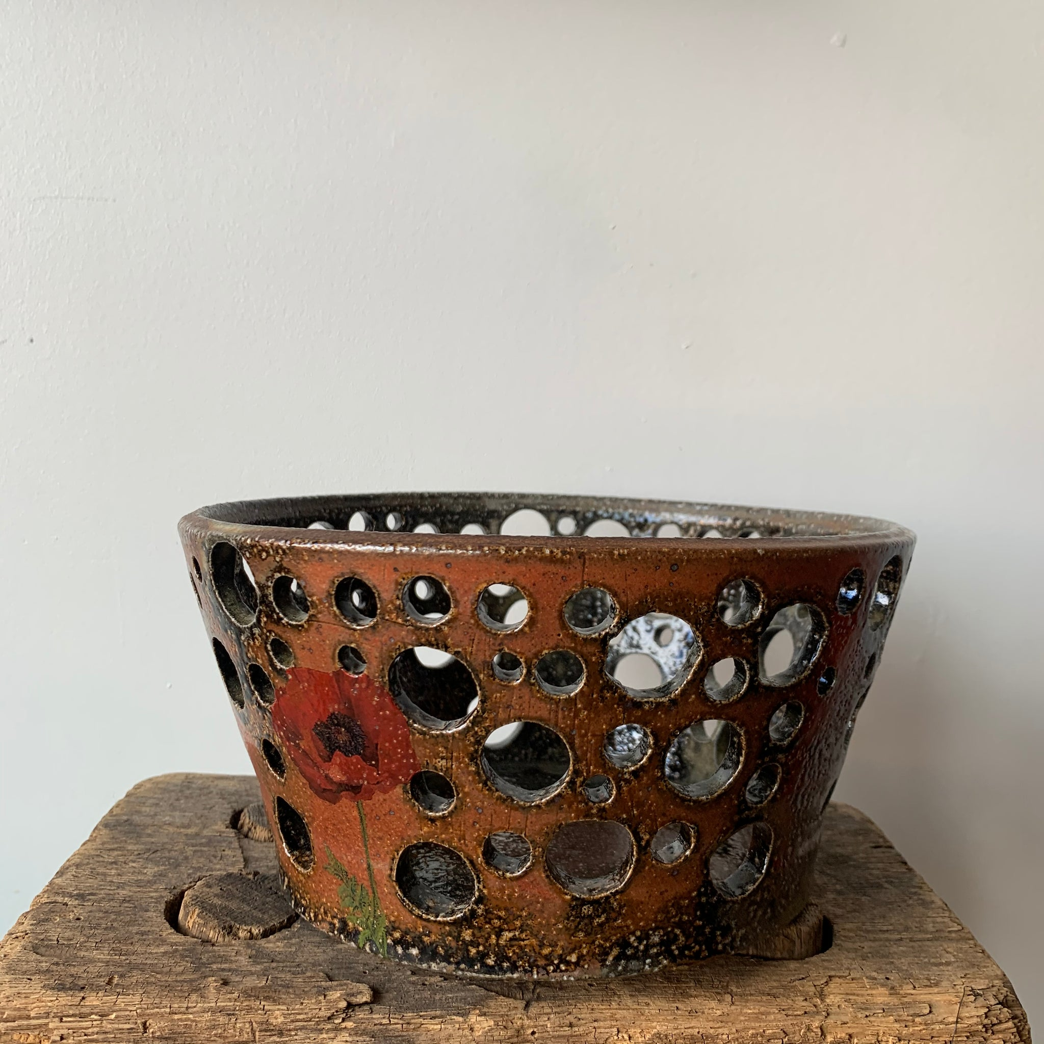 Wood Fired and Decaled Fruit Bowl by Justin Rothshank
