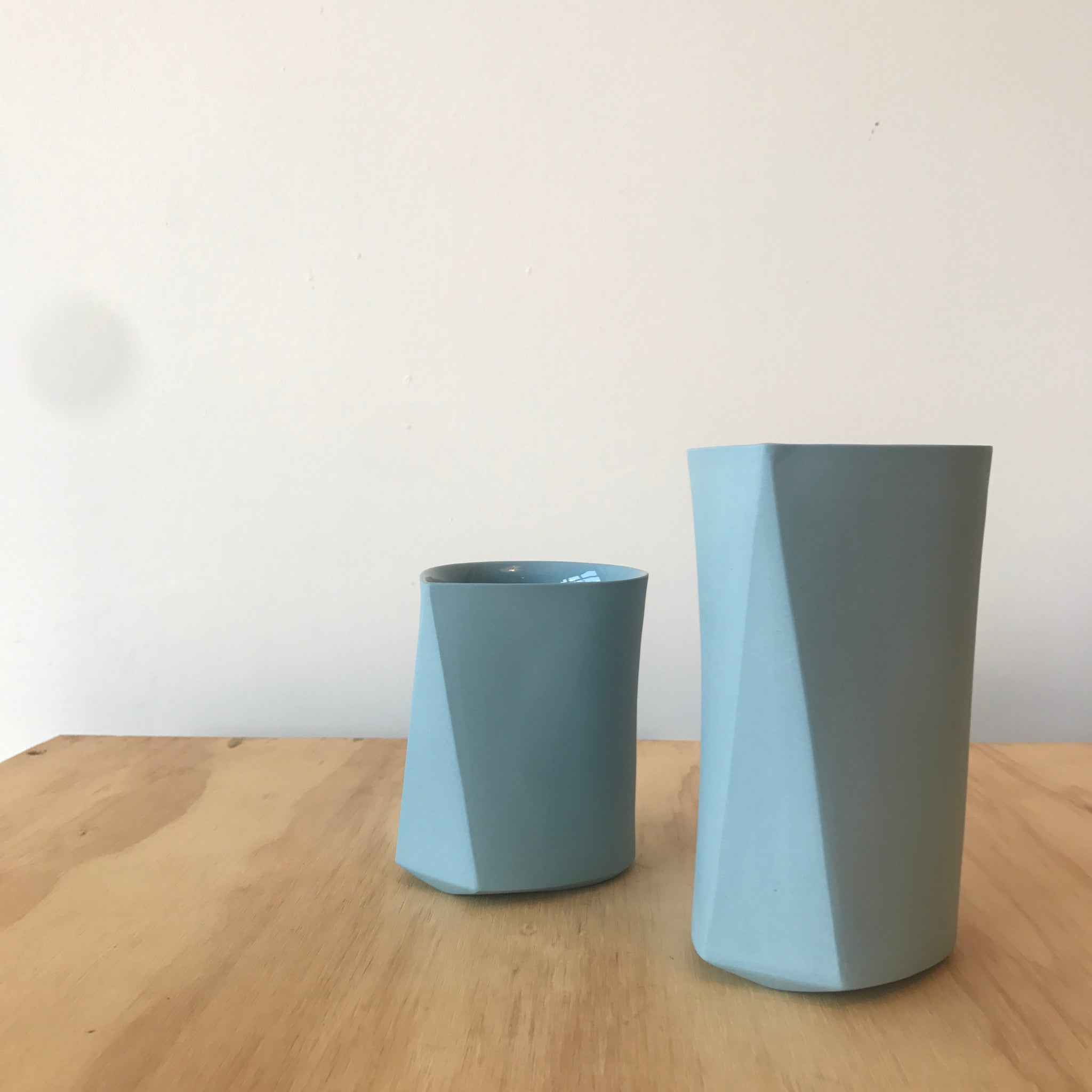 Porcelain Faceted Cup in Sky Blue by Edgewood Made