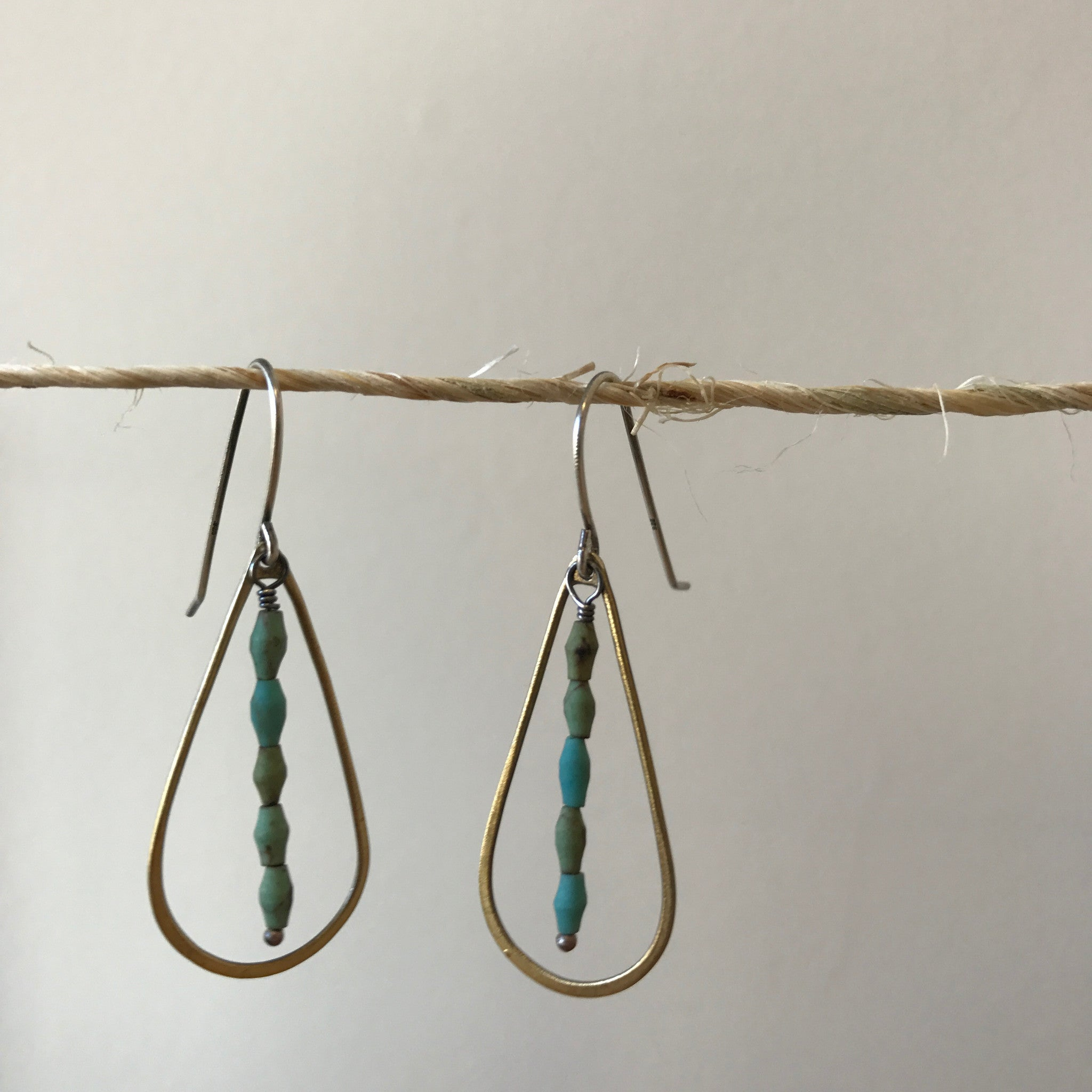 Sterling Silver and Brass Drop Earrings with Turquoise by Eric Silva