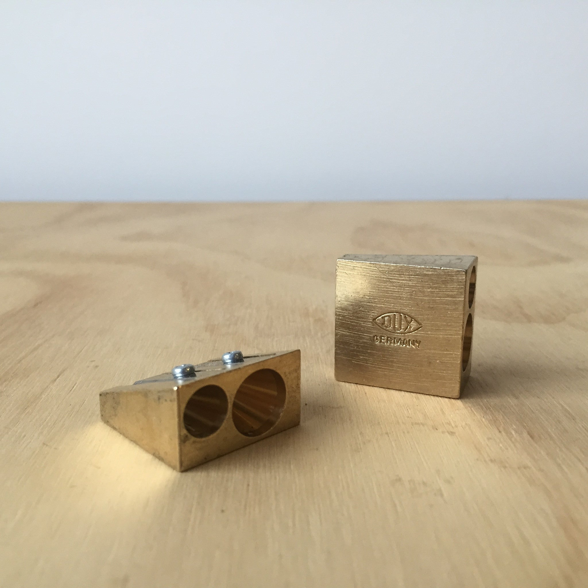 Brass Double Wedge Pencil Sharpener - Upstate MN