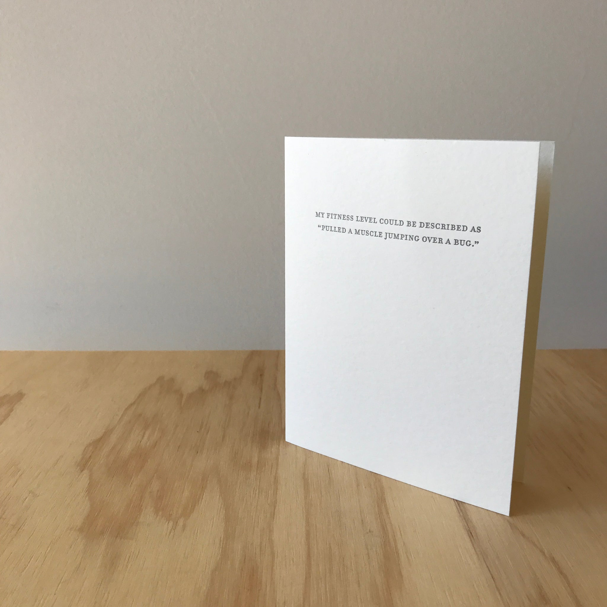 Fitness Level Letterpress Greeting Card by Sapling Press