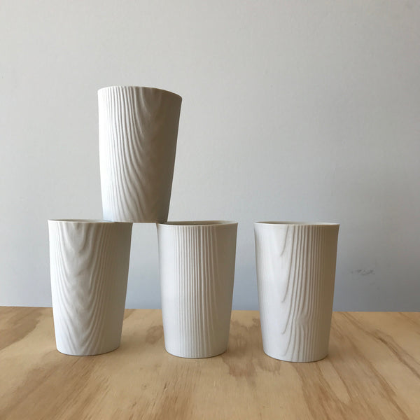 Porcelain Woodgrain Cup in White by Edgewood Made