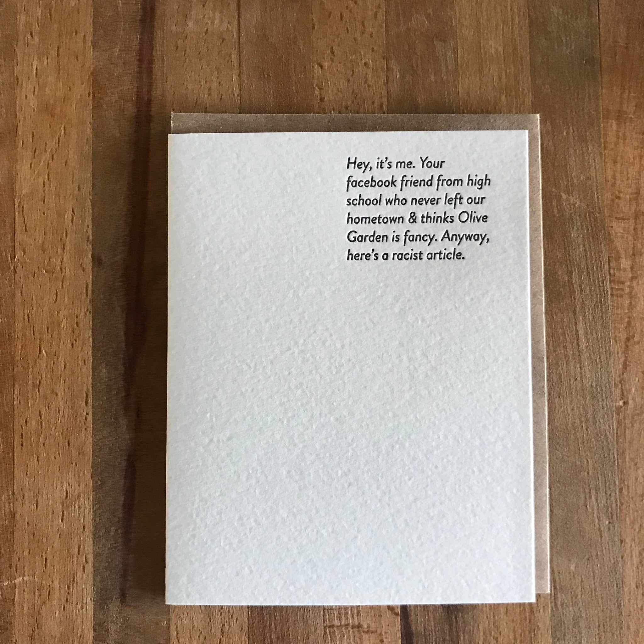 FACEBOOK FRIEND Letterpress Greeting Card by Sapling Press - Upstate MN