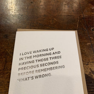 Waking Up Letterpress Greeting Card by Sapling Press - Upstate MN