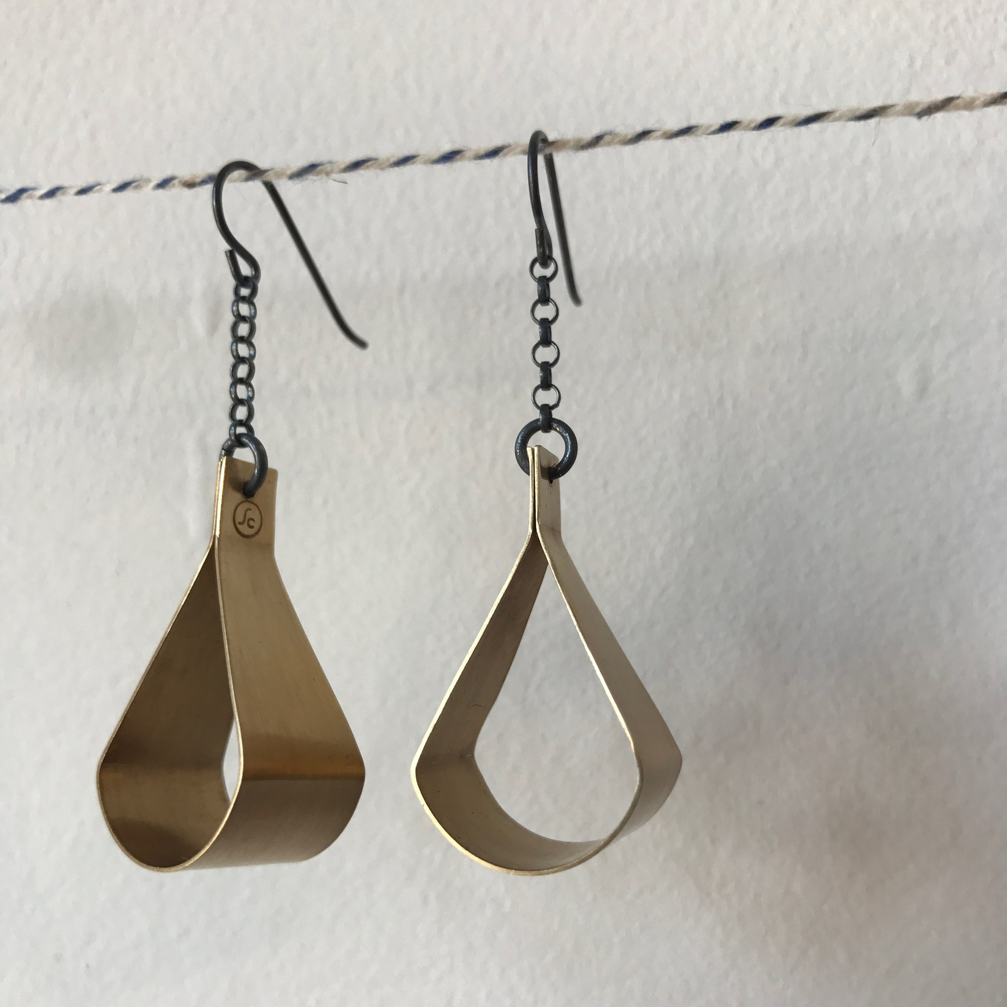 Bent Arc Chain Earrings in Brass by Silvercocoon - Upstate MN