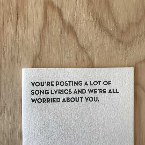 Song Lyrics Letterpress Greeting Card by Sapling Press