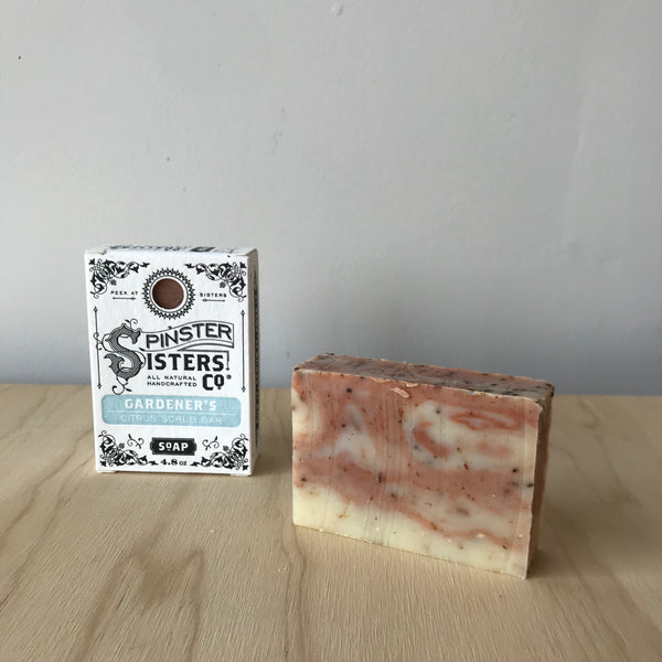 Spinster Sisters Gardener's Citrus Scrub Bar with Pumice Handmade Organic Soap