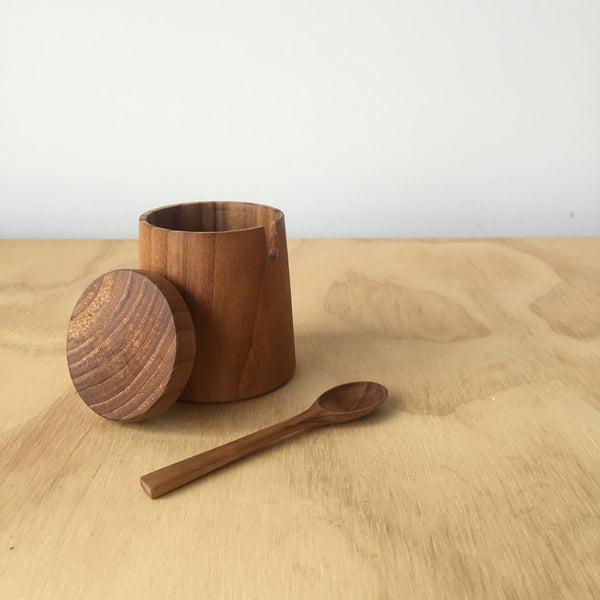 Teak Salt Cellar with Lid and Spoon – Small