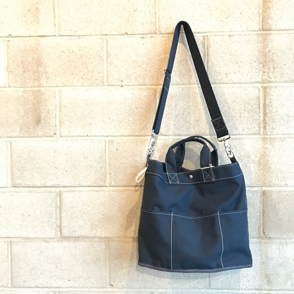 Navy Canvas Bucket Tote Bag by Utility Canvas