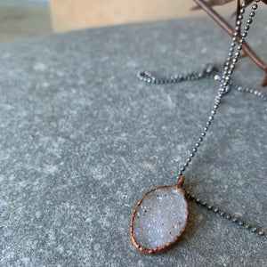 "Quartz Druzy on 18"" Sterling Necklace by Hawkhouse"