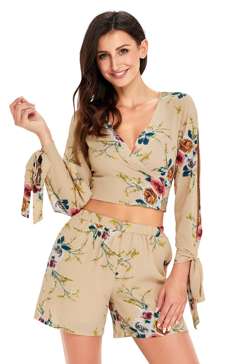 Floral Print Split Sleeves Crop Top and Short Set - What's Your Chic