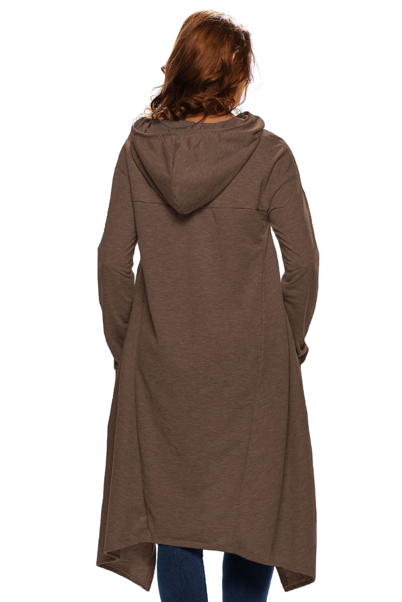 Plain Drawstring Irregular Oversize Hoodie - What's Your Chic