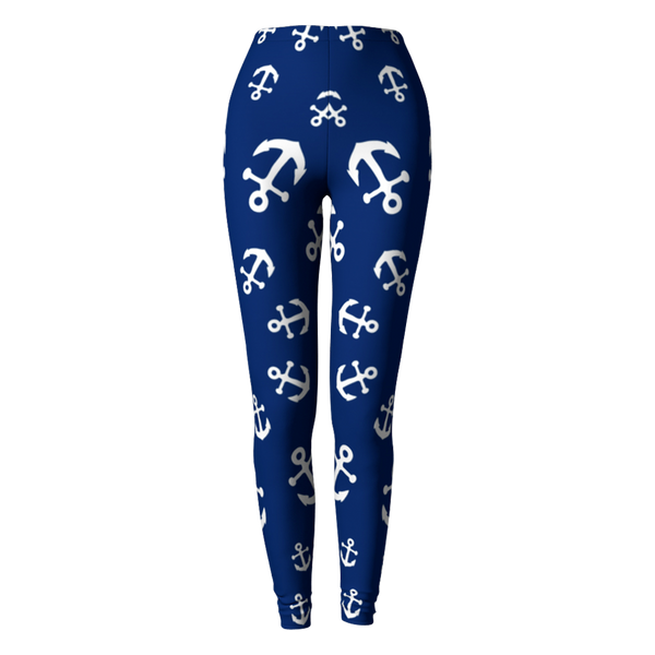 Anchor Pinwheel Leggings - Navy - What's Your Chic