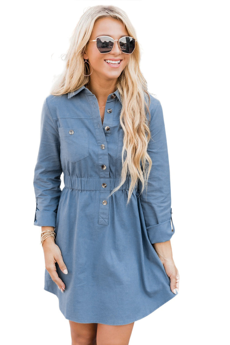 Button Elastic Waistband Shirt Mini Dress - What's Your Chic