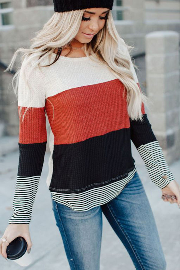 Stylish Colorblock Splicing Stripes Top - What's Your Chic