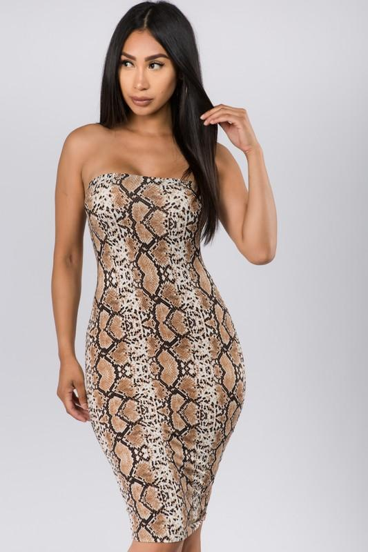 Snake Print Tube Midi Dress - What's Your Chic