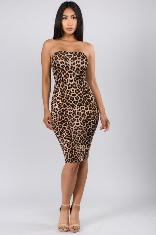 Leopard Print Tube Midi Dress - What's Your Chic