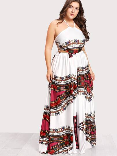 Ornate print lace up dress (plus size) - What's Your Chic