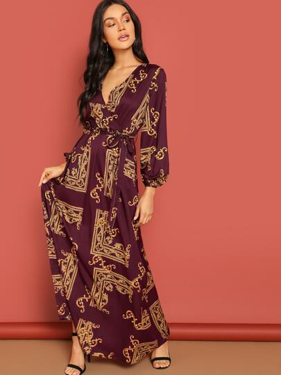 Print lantern sleeve wrap maxi - What's Your Chic
