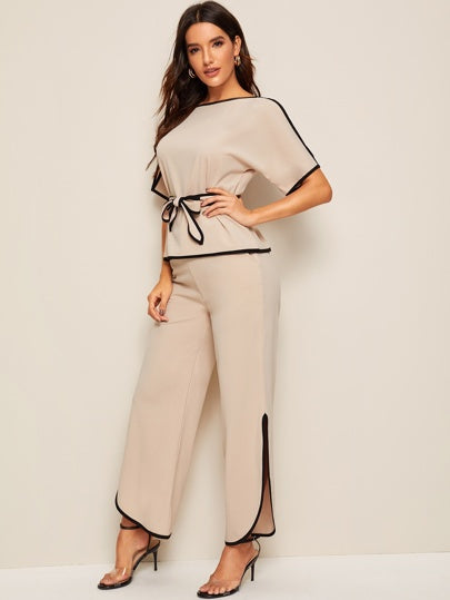 Stocks piping trim belted pants set - What's Your Chic