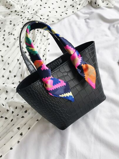 Small twilly decor croc tote (scarf) - What's Your Chic