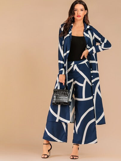 Bare With Me Here front long-line shirt & pants set - What's Your Chic