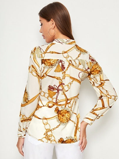 Chain print split neck blouse - cream - What's Your Chic