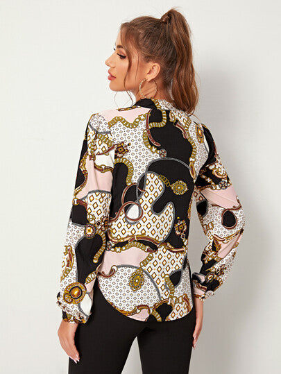 Scarf Print Button Front Blouse - What's Your Chic