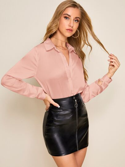 Solid button-front satin blouse in blush - What's Your Chic