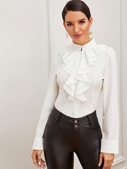 Mock-neck Ruffle Trim Shirt in white - What's Your Chic