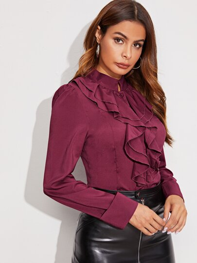 Mock Neck Jabot Collar Blouse - What's Your Chic