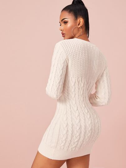 Cable Knit Bodycon Sweater Dress Without Belt - What's Your Chic